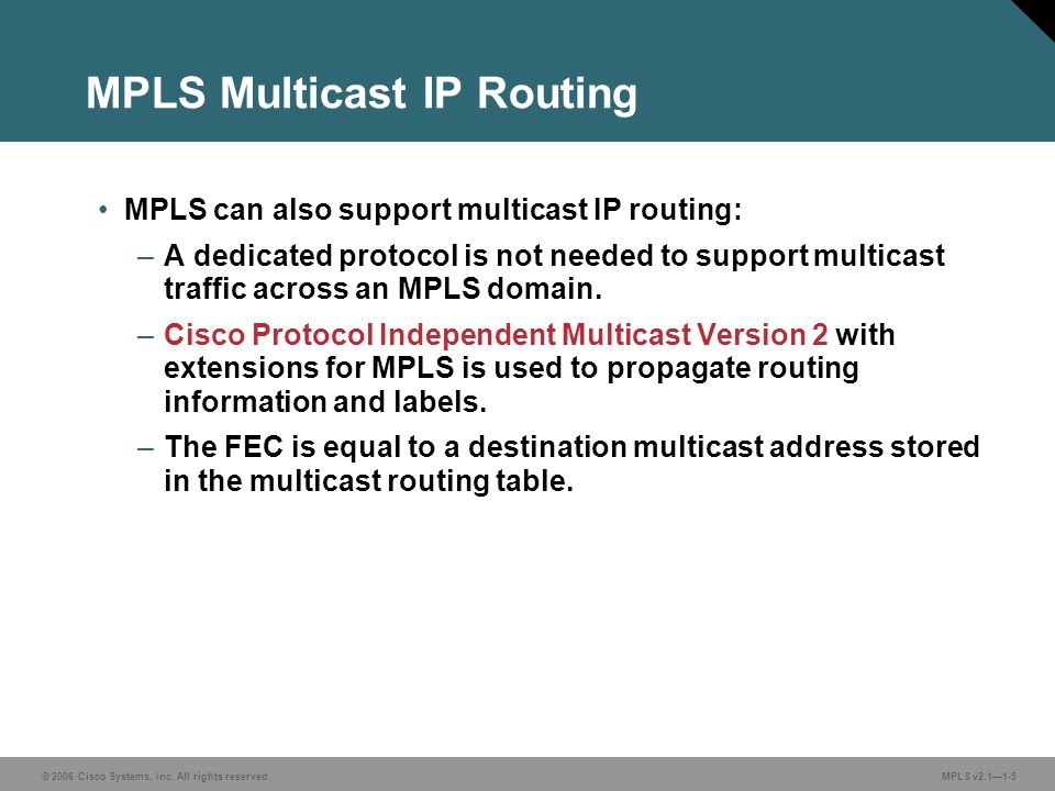 MPLS Multicast IP Routing