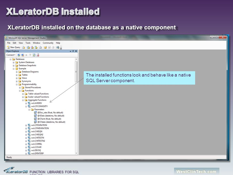XLeratorDB Installed XLeratorDB installed on the database as a native component.
