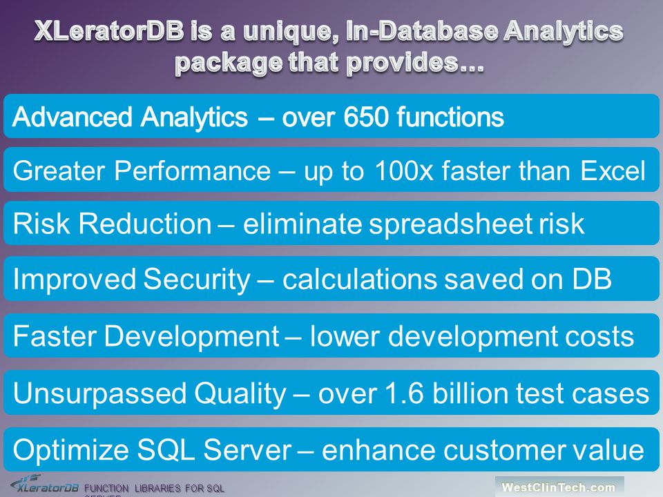 XLeratorDB is a unique, In-Database Analytics package that provides…