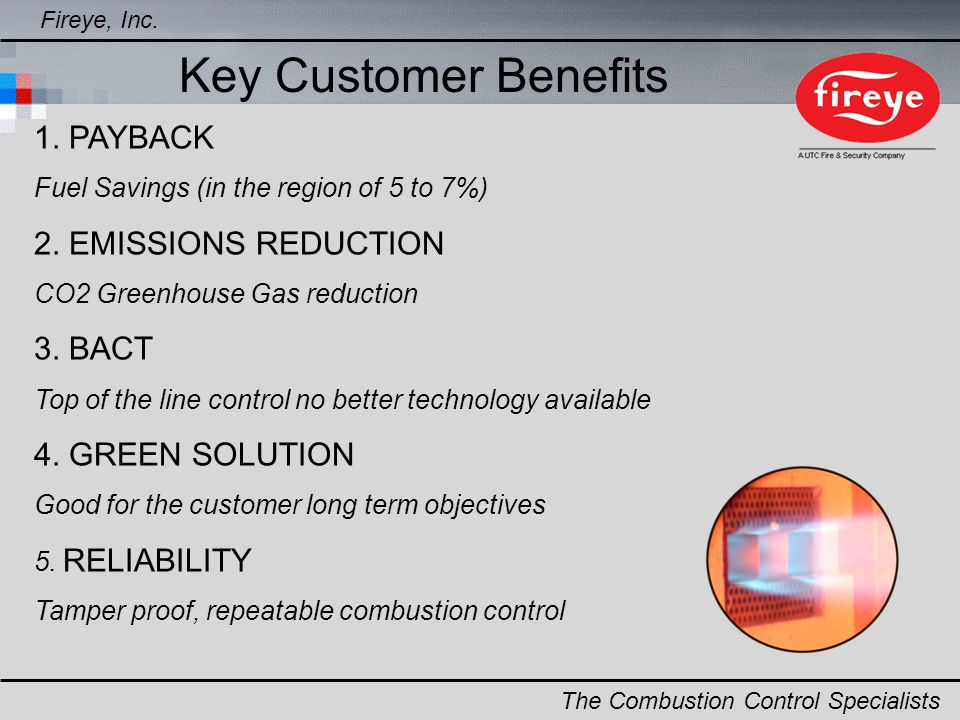 Key Customer Benefits 1. PAYBACK 2. EMISSIONS REDUCTION 3. BACT