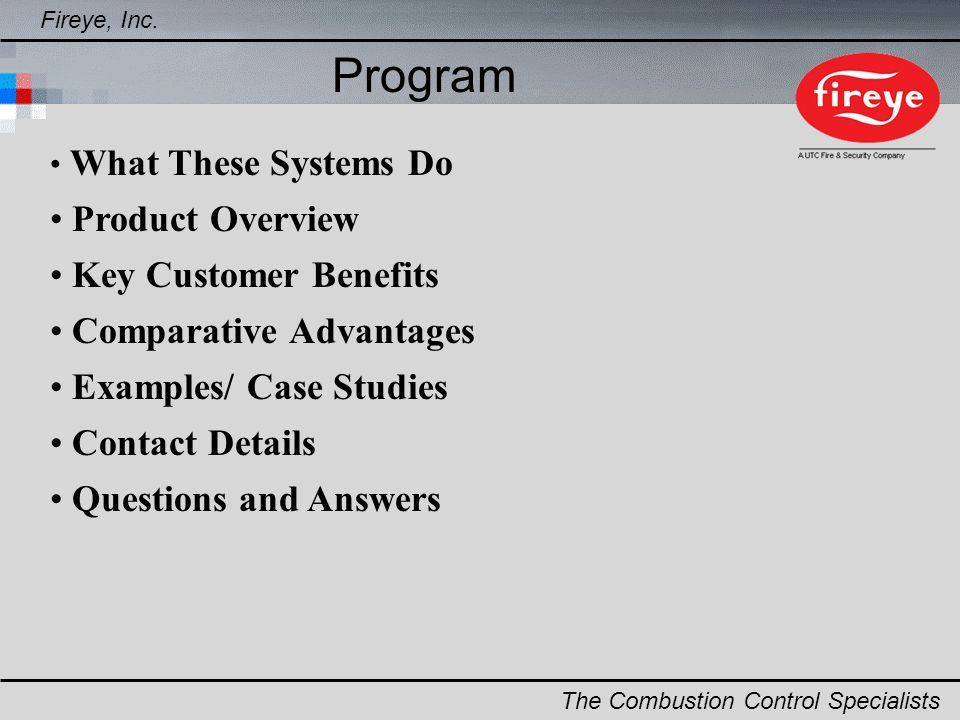 Program Product Overview Key Customer Benefits Comparative Advantages