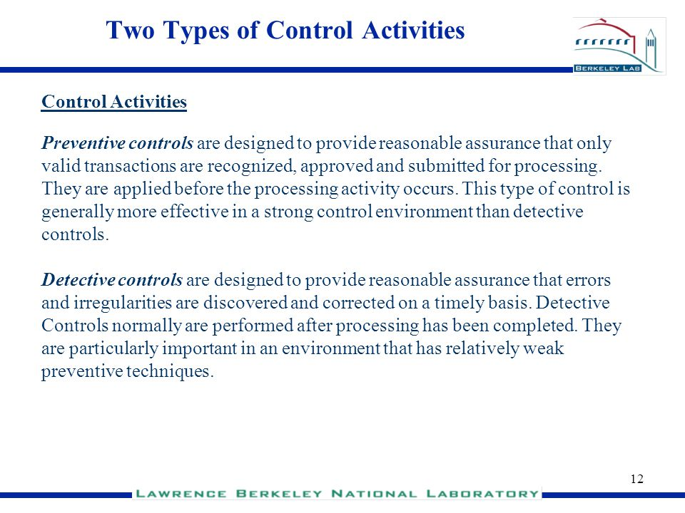 Two Types of Control Activities