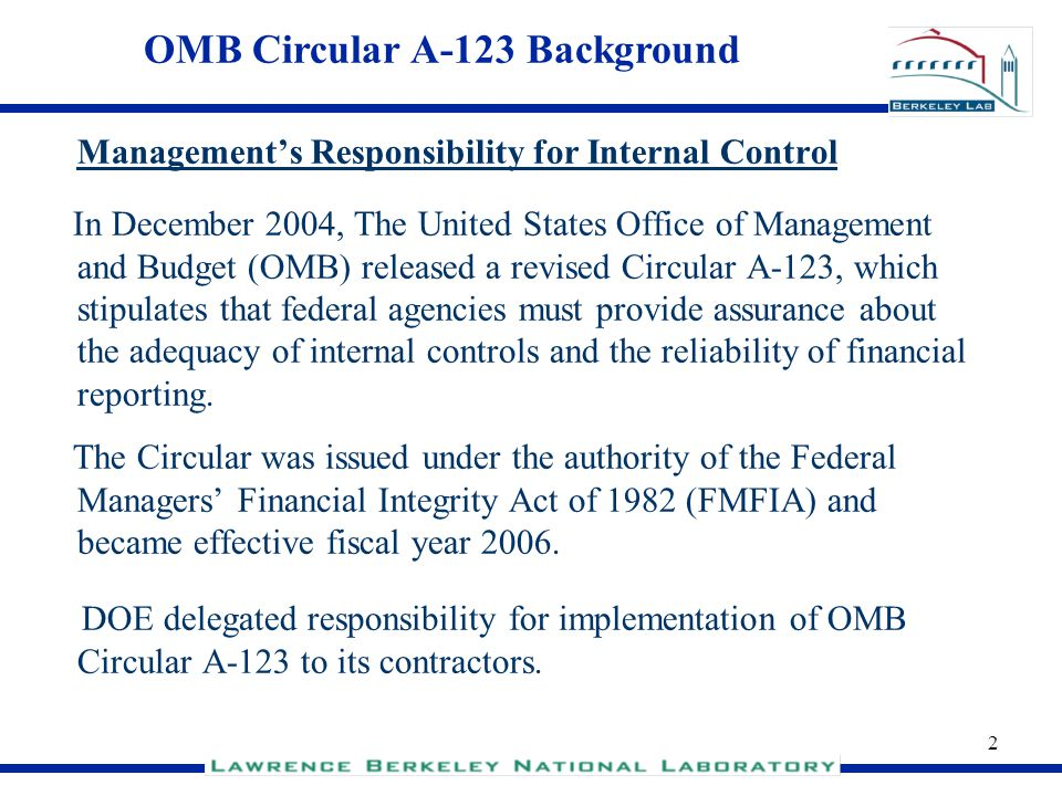 OMB Circular A-123 Background