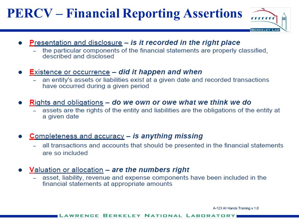 PERCV – Financial Reporting Assertions