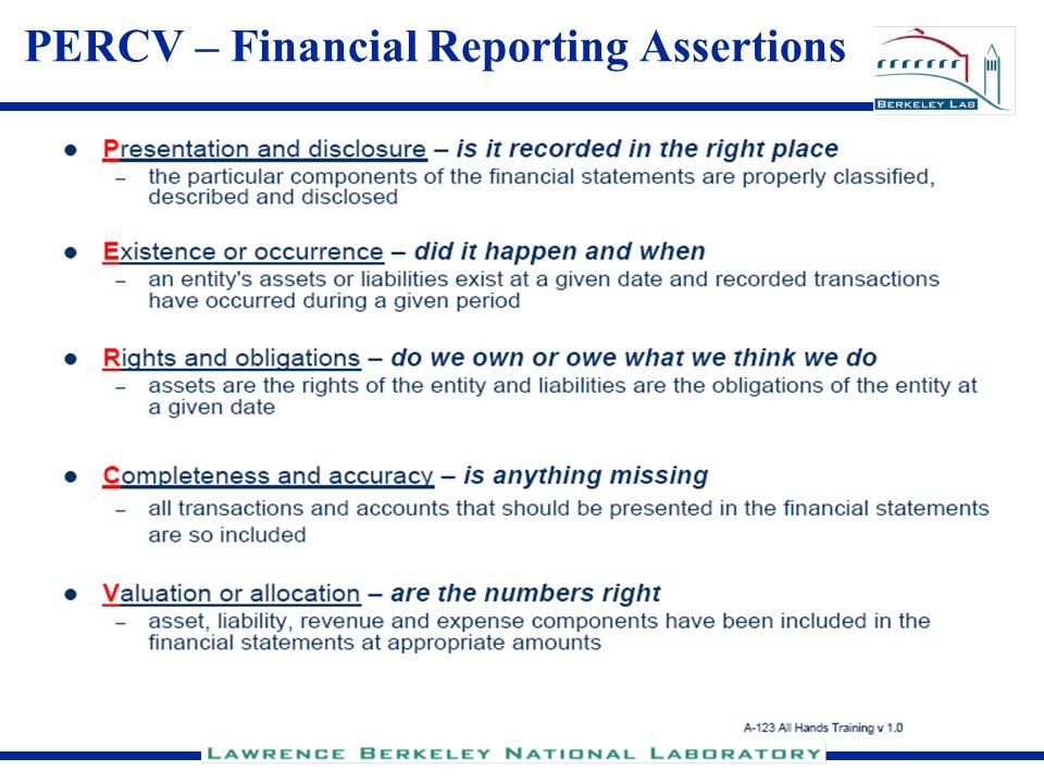 PERCV – Financial Reporting Assertions