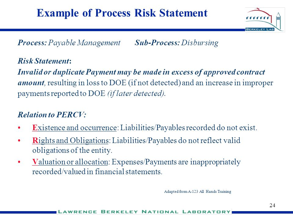 Example of Process Risk Statement
