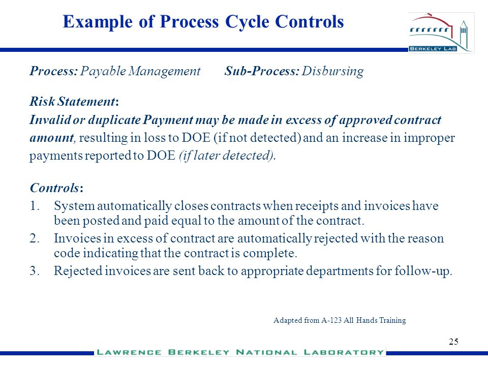 Example of Process Cycle Controls