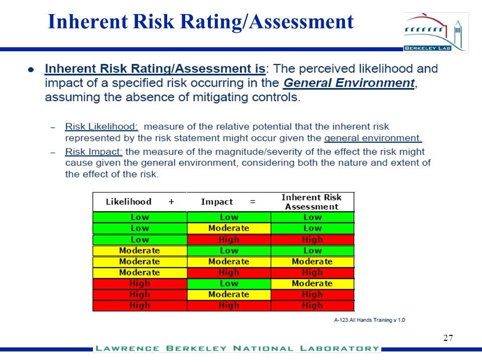 Inherent Risk Rating/Assessment