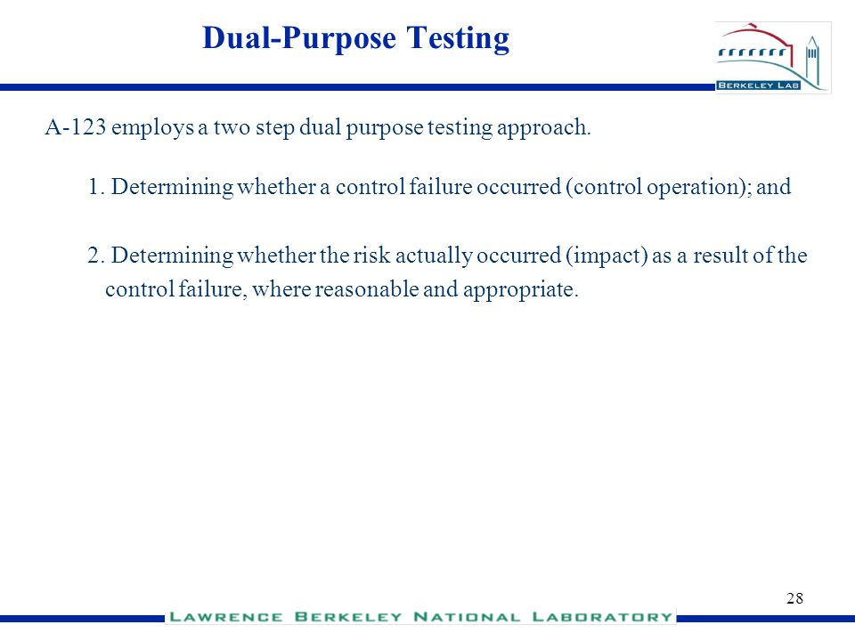 Dual-Purpose Testing A-123 employs a two step dual purpose testing approach.