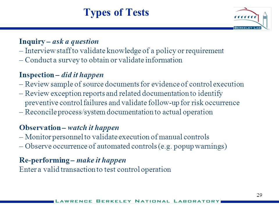 Types of Tests Inquiry – ask a question