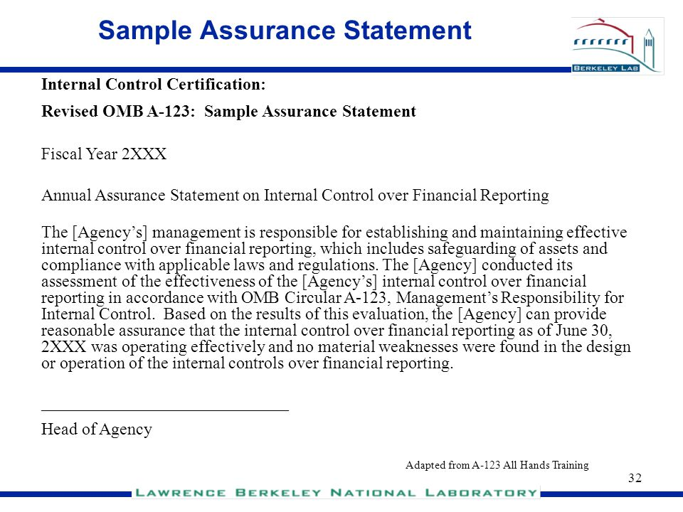 Sample Assurance Statement