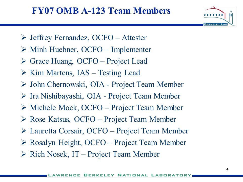 FY07 OMB A-123 Team Members Jeffrey Fernandez, OCFO – Attester