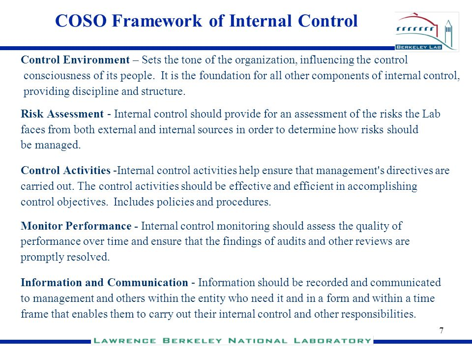 COSO Framework of Internal Control