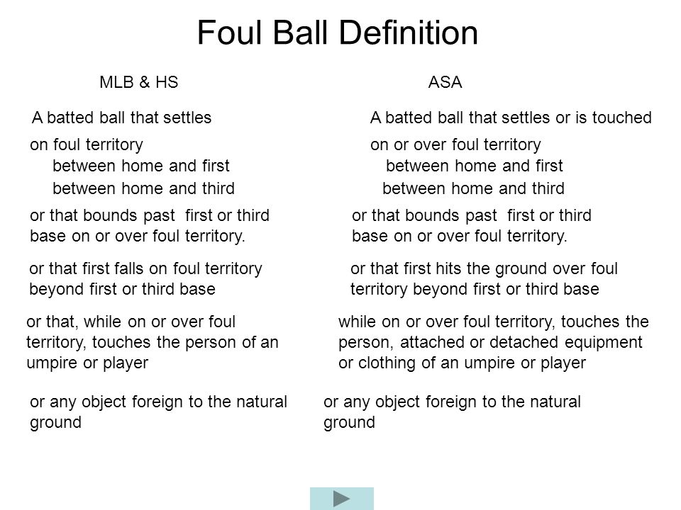 Foul Ball Definition MLB & HS ASA A batted ball that settles