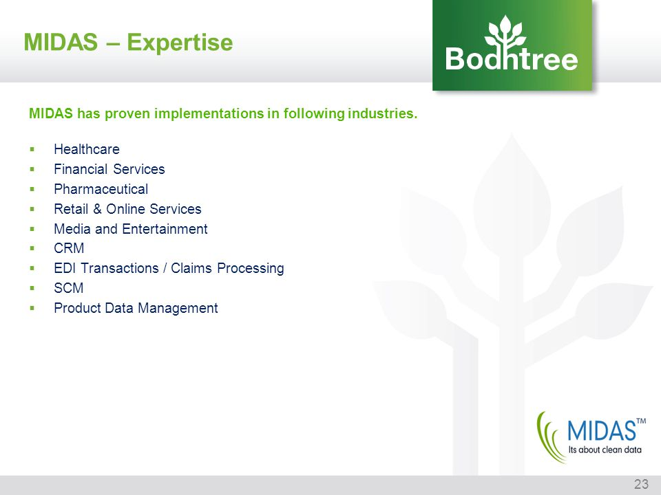 MIDAS – Expertise MIDAS has proven implementations in following industries. Healthcare. Financial Services.