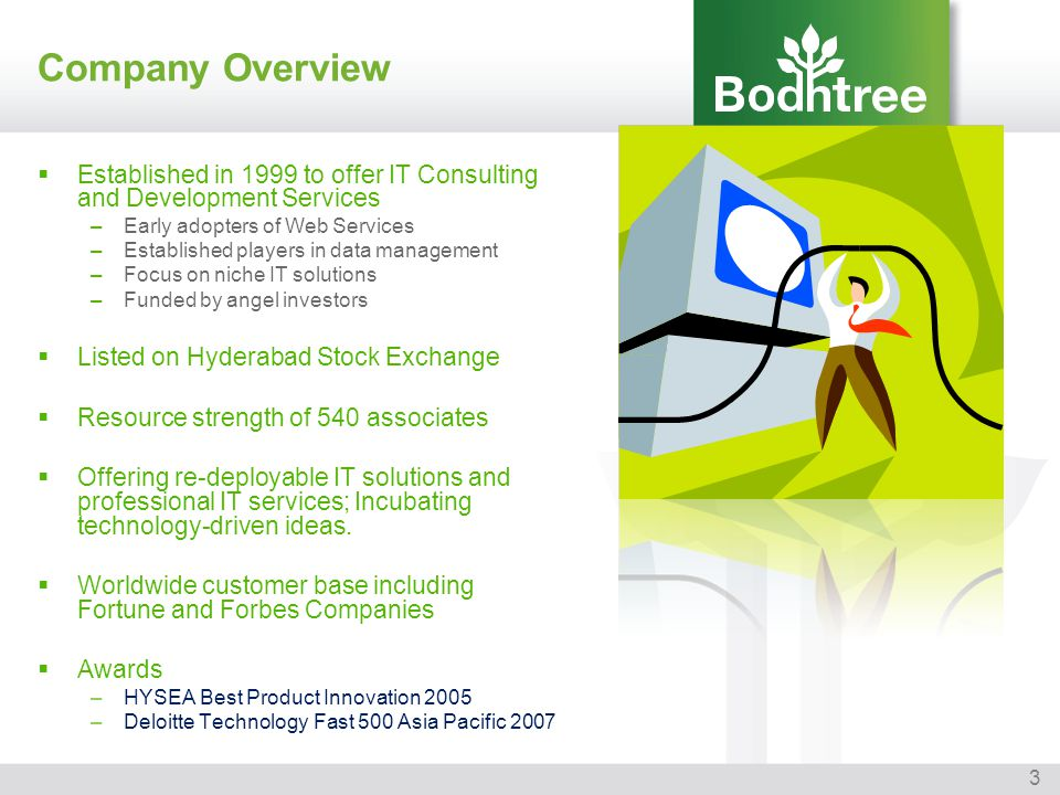 Company Overview Established in 1999 to offer IT Consulting and Development Services. Early adopters of Web Services.