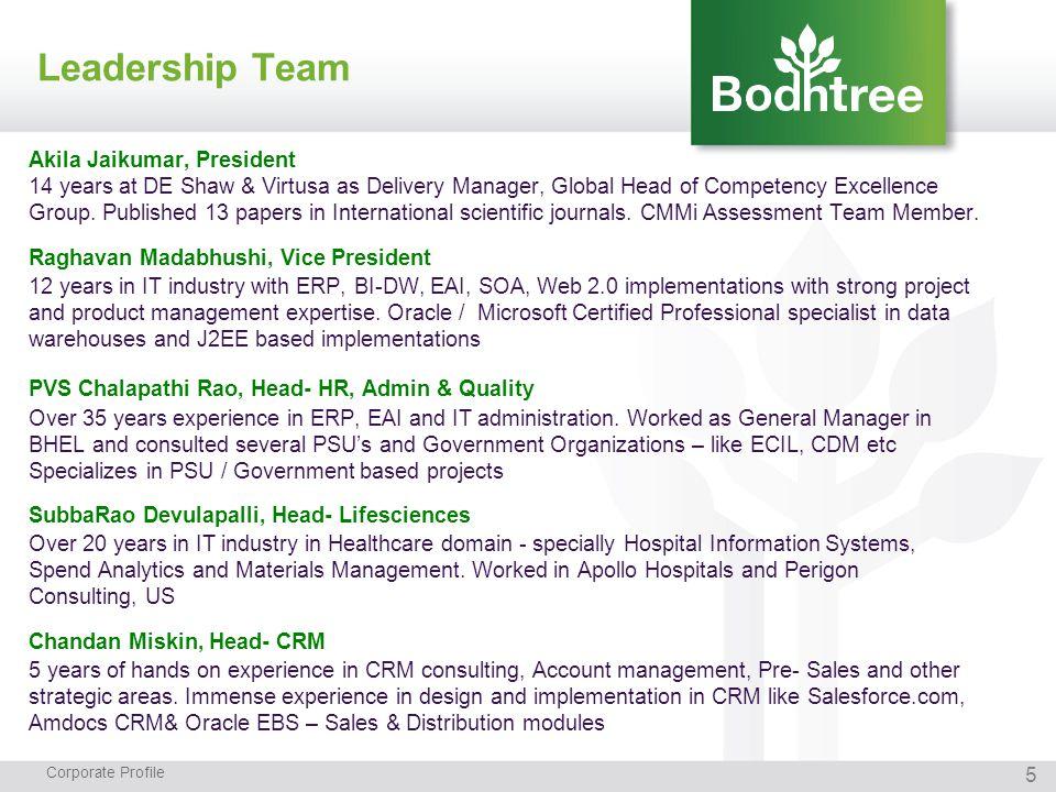 Leadership Team Corporate Profile Akila Jaikumar, President