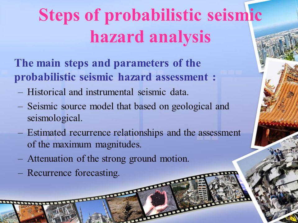 Steps of probabilistic seismic hazard analysis