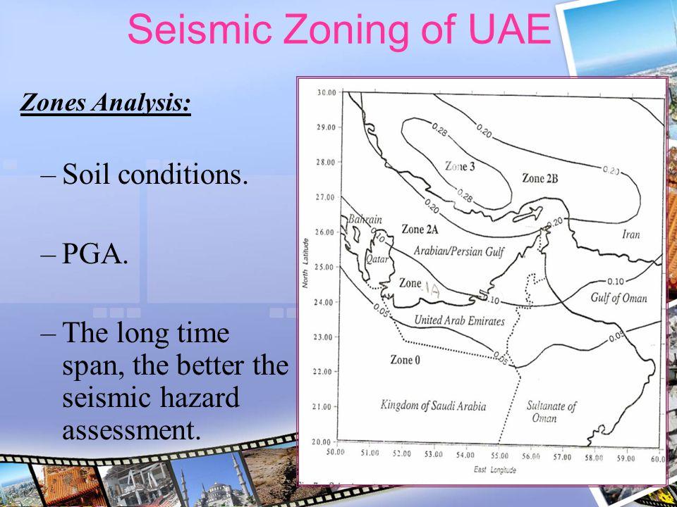 Seismic Zoning of UAE Soil conditions. PGA.