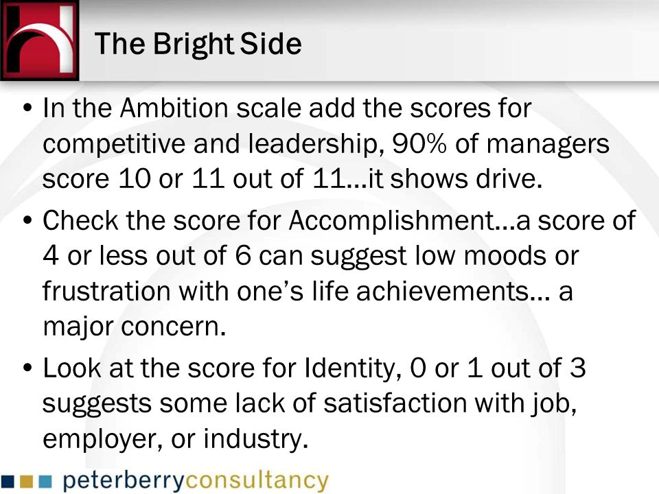 The Bright Side In the Ambition scale add the scores for competitive and leadership, 90% of managers score 10 or 11 out of 11…it shows drive.