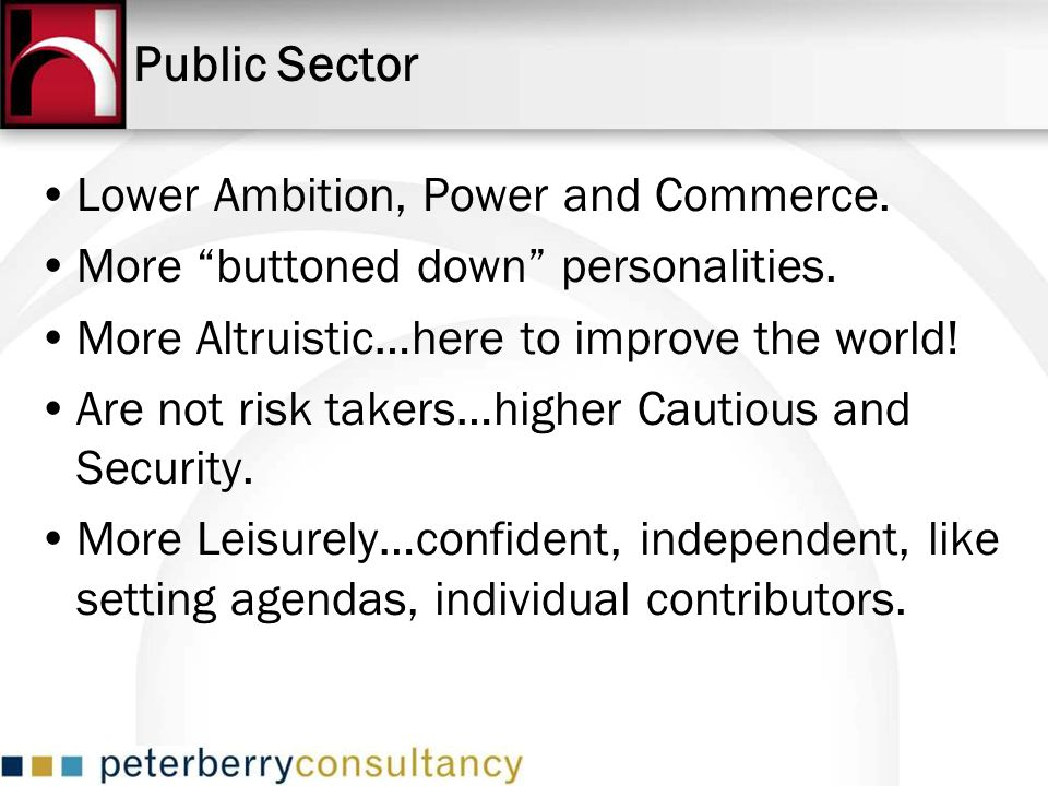 Public Sector Lower Ambition, Power and Commerce.