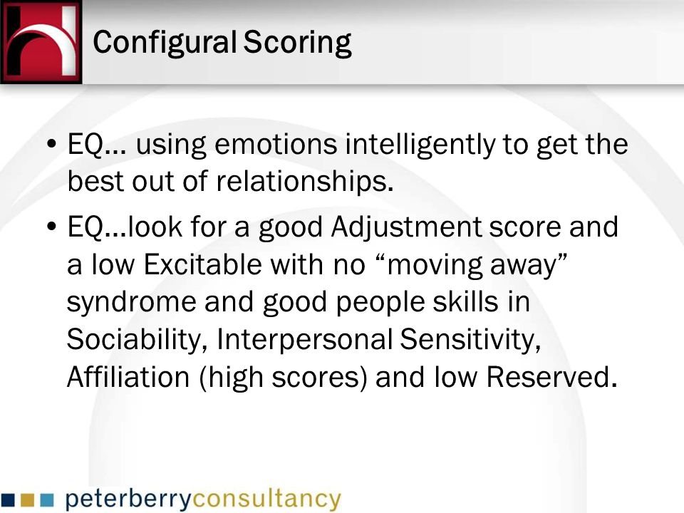 Configural Scoring EQ… using emotions intelligently to get the best out of relationships.