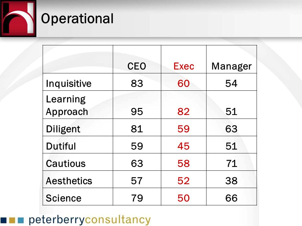 Operational CEO Exec Manager Inquisitive 83 60 54 Learning Approach 95