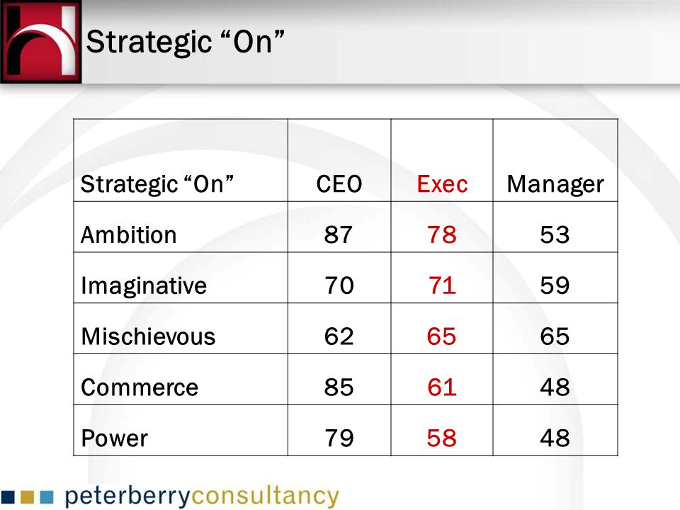 Strategic On Strategic On CEO Exec Manager Ambition 87 78 53