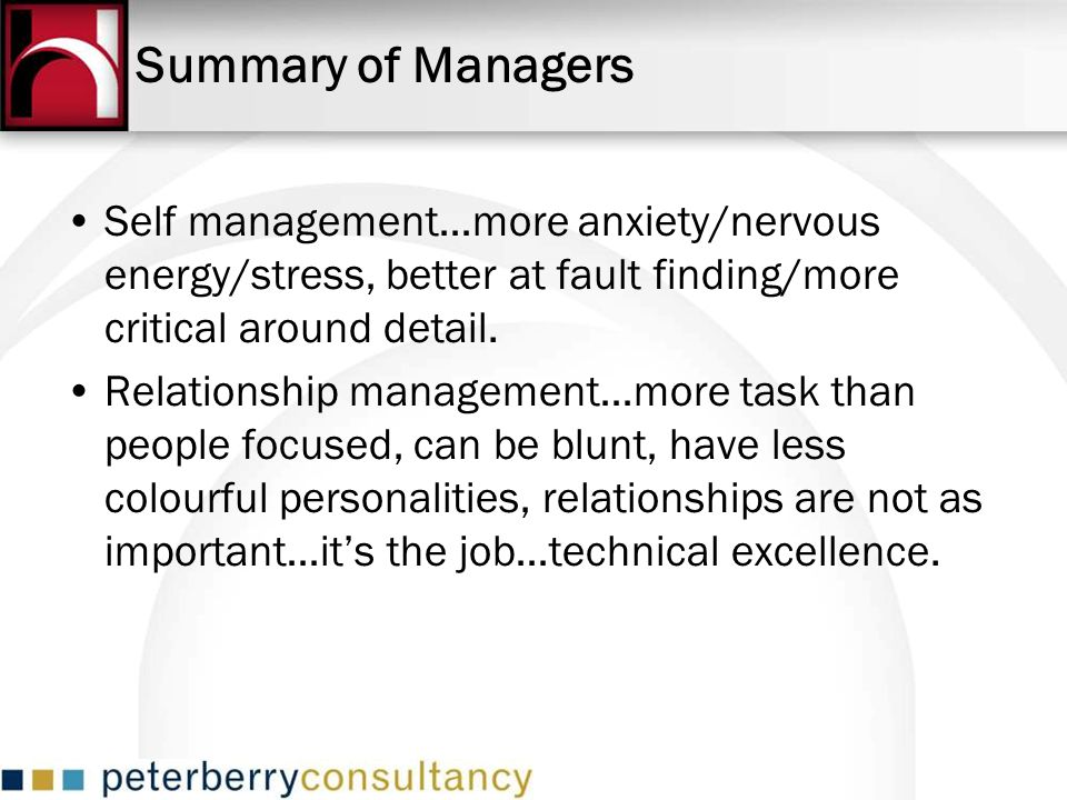 Summary of Managers Self management…more anxiety/nervous energy/stress, better at fault finding/more critical around detail.