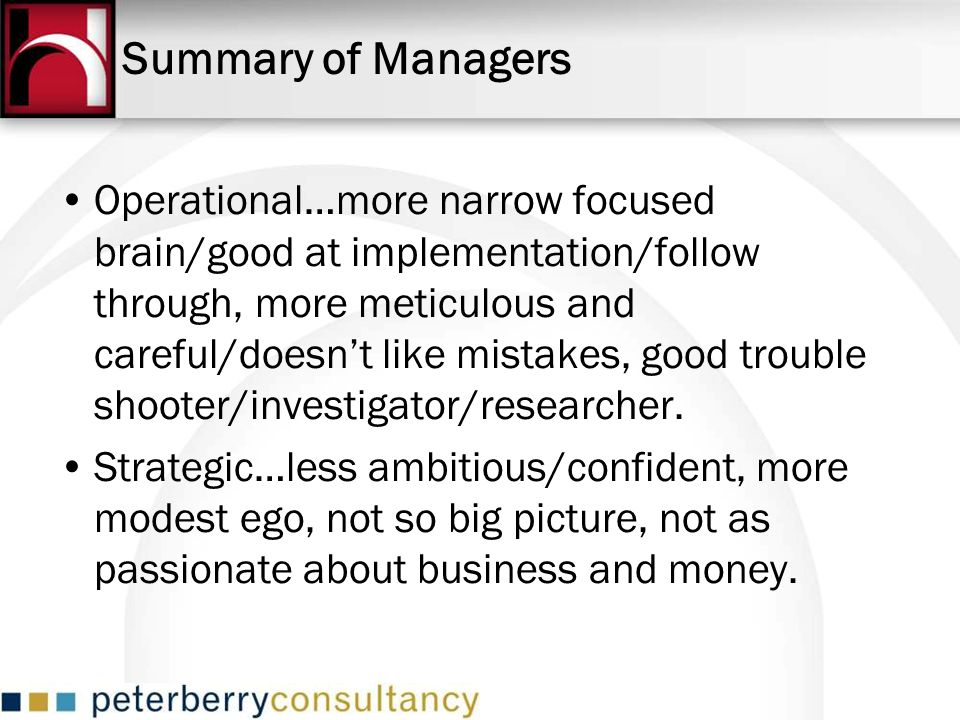 Summary of Managers