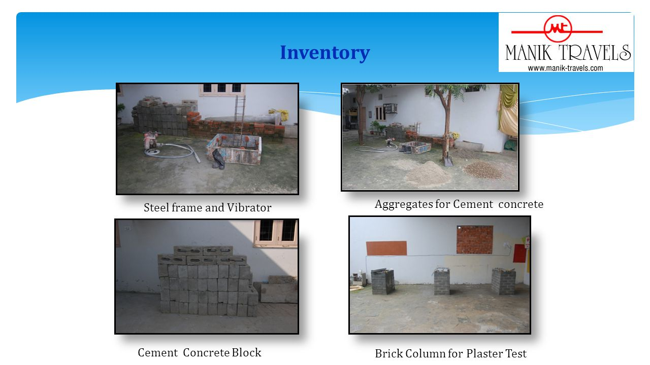 Inventory Aggregates for Cement concrete Steel frame and Vibrator