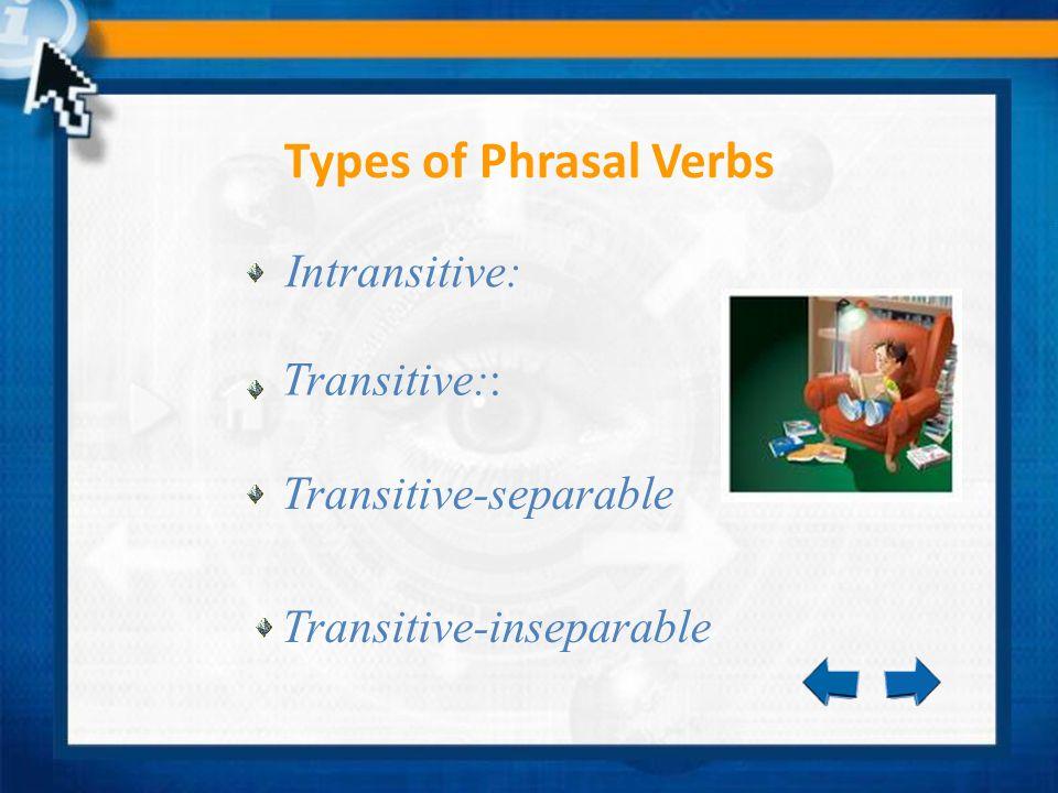 Types of Phrasal Verbs Intransitive: Transitive:: Transitive-separable