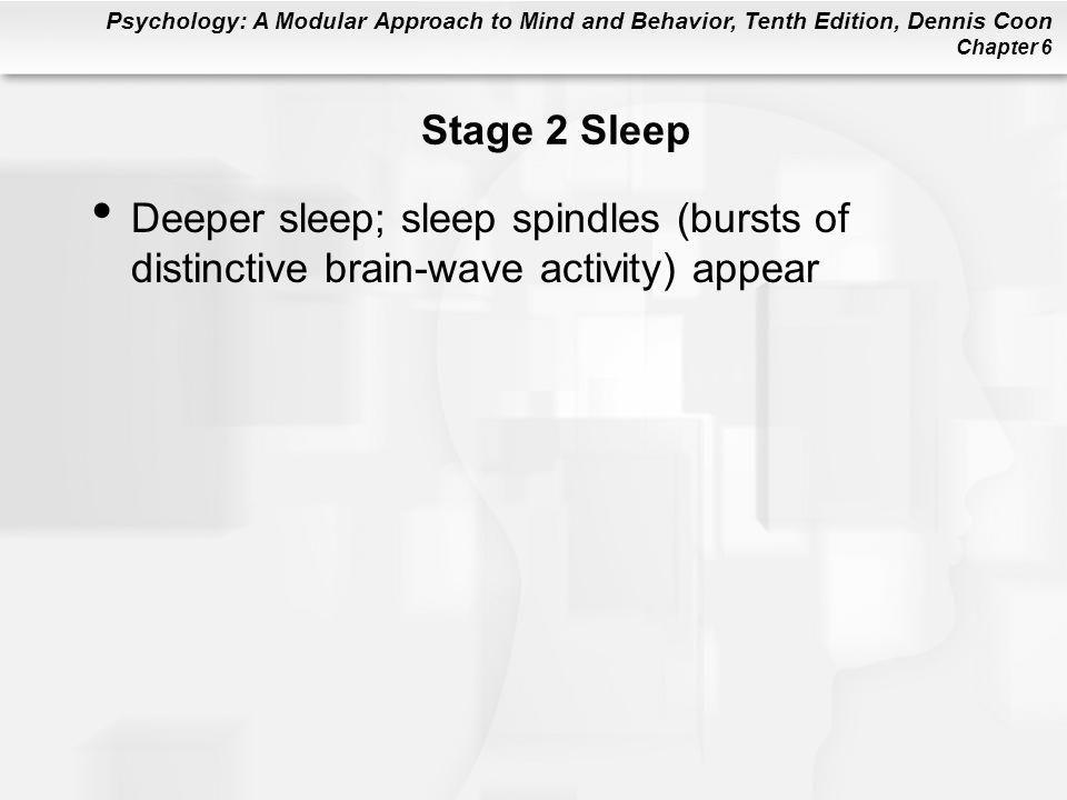Stage 2 Sleep Deeper sleep; sleep spindles (bursts of distinctive brain-wave activity) appear