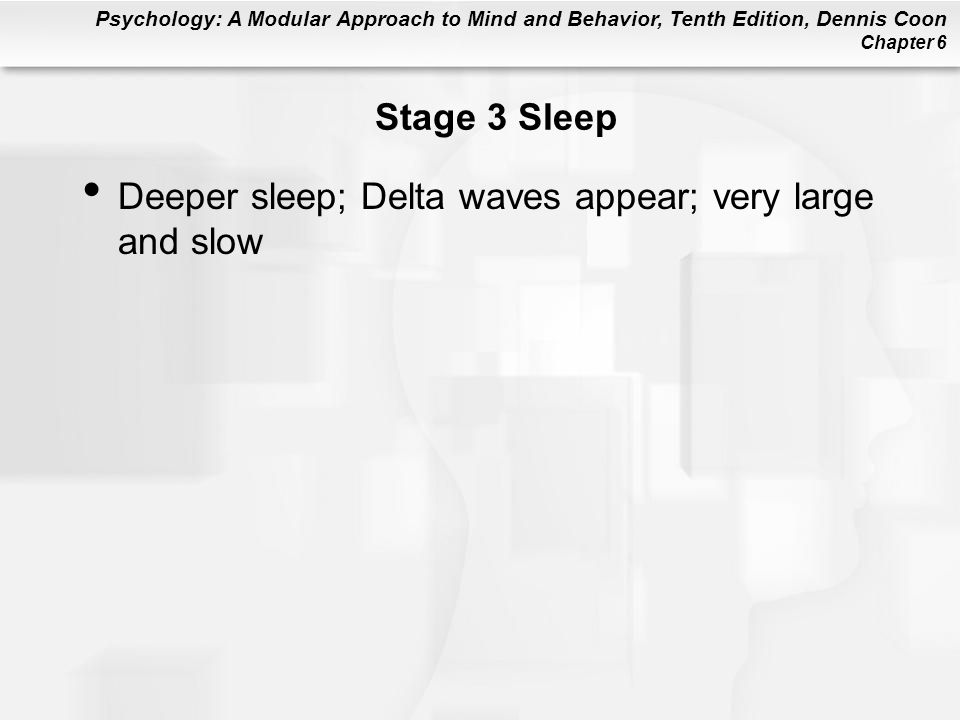 Stage 3 Sleep Deeper sleep; Delta waves appear; very large and slow