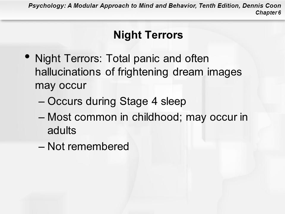 Night Terrors Night Terrors: Total panic and often hallucinations of frightening dream images may occur.