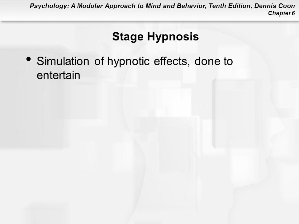 Stage Hypnosis Simulation of hypnotic effects, done to entertain