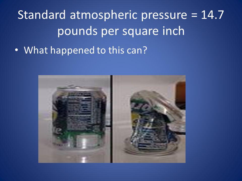 Standard atmospheric pressure = 14.7 pounds per square inch