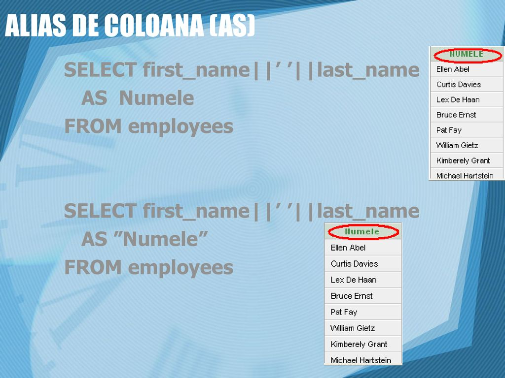 ALIAS DE COLOANA (AS) SELECT first_name||' '||last_name AS Numele