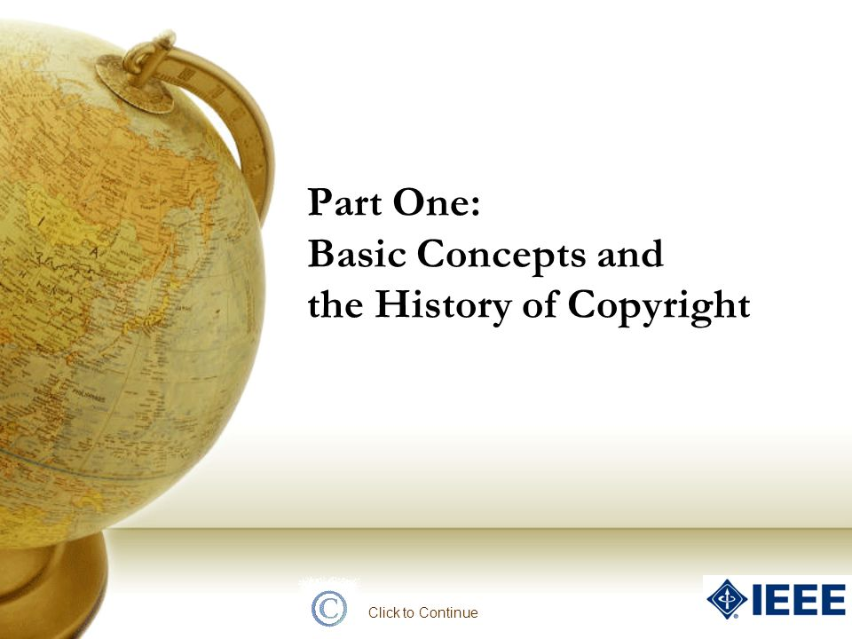 Part One: Basic Concepts and the History of Copyright