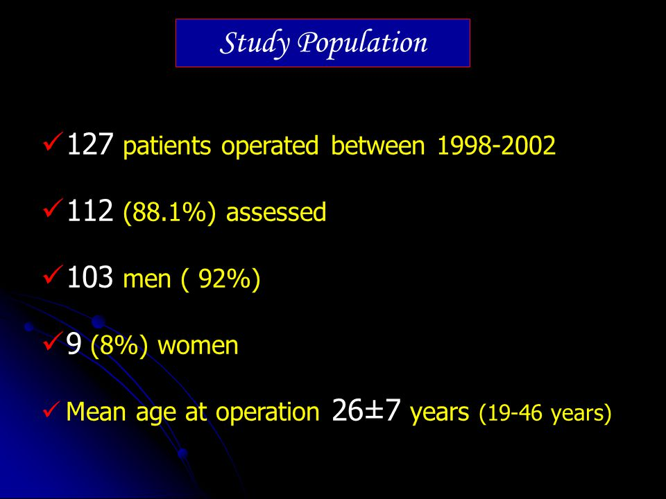 Study Population 127 patients operated between 1998-2002