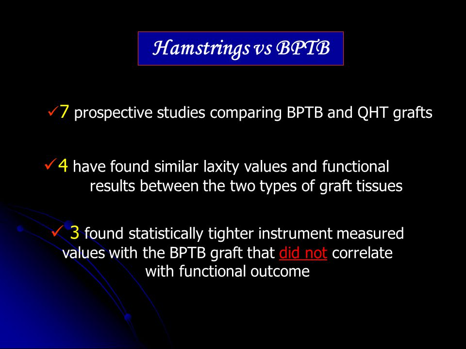 Hamstrings vs BPTB 7 prospective studies comparing BPTB and QHT grafts.