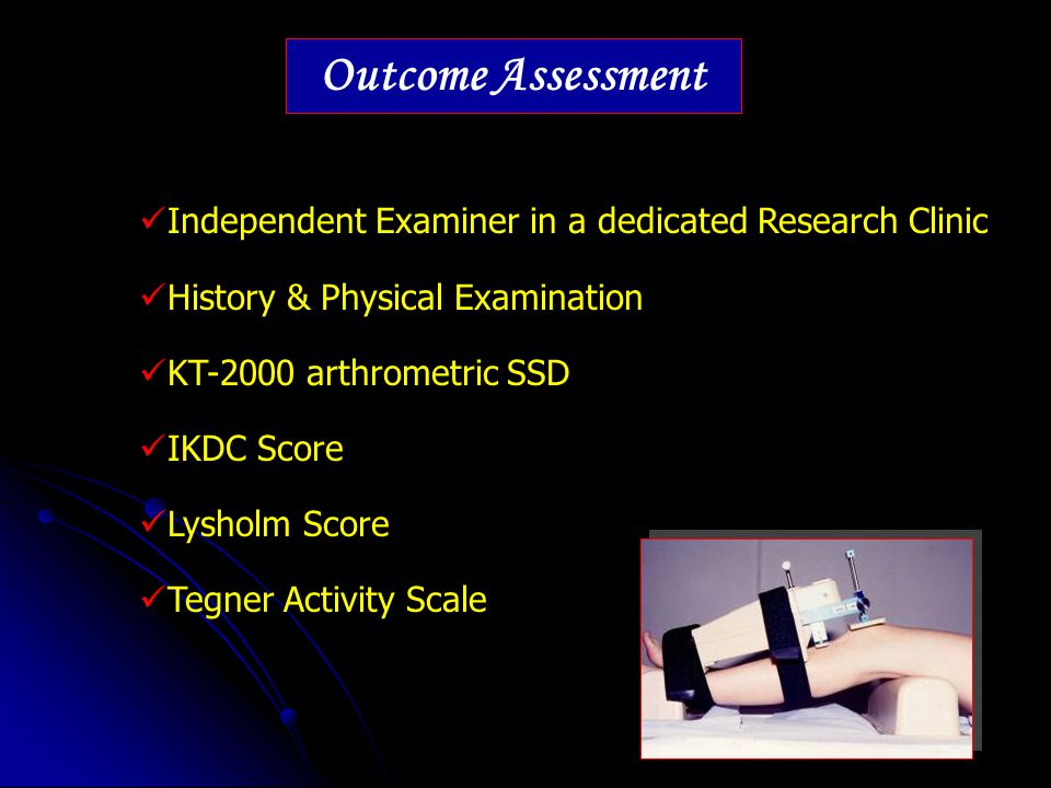 Outcome Assessment Independent Examiner in a dedicated Research Clinic