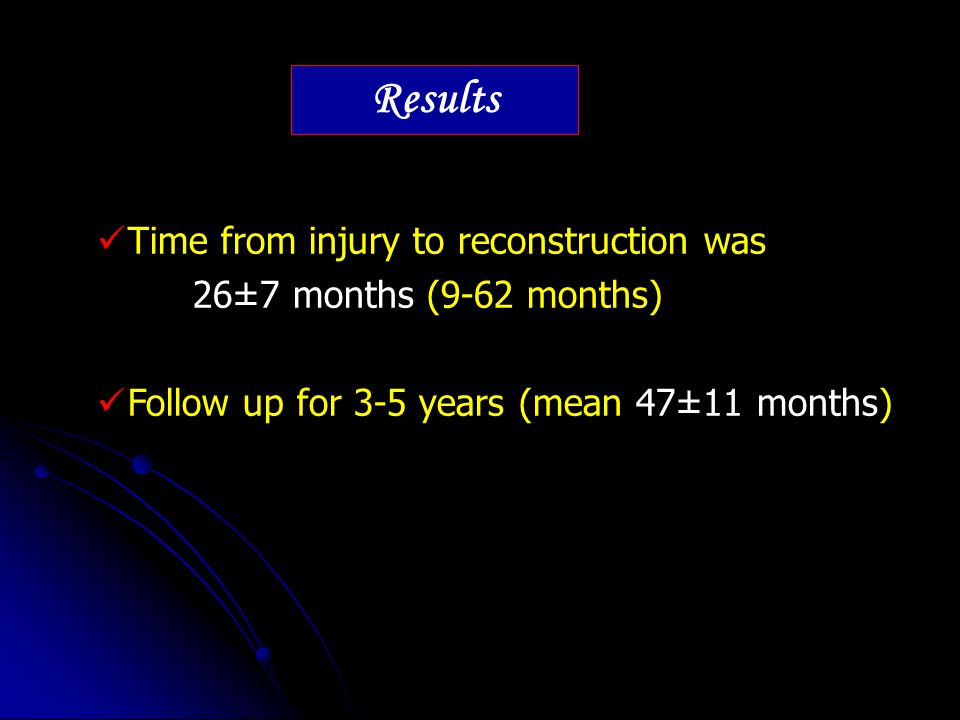 Results Time from injury to reconstruction was 26±7 months (9-62 months) Follow up for 3-5 years (mean 47±11 months)