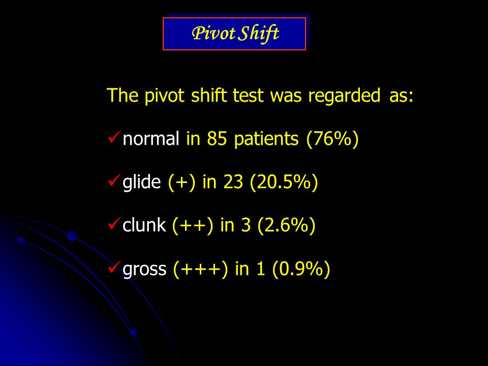 Pivot Shift The pivot shift test was regarded as: