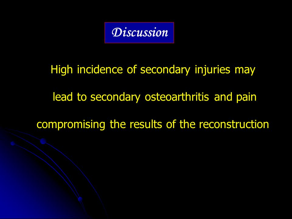 Discussion High incidence of secondary injuries may