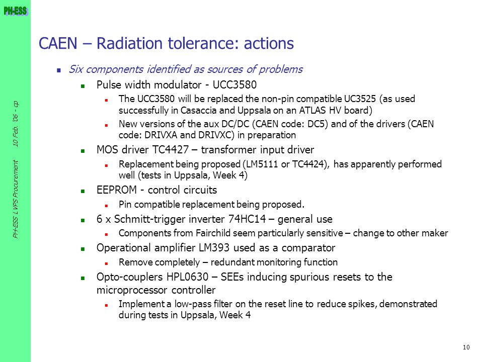 CAEN – Radiation tolerance: actions