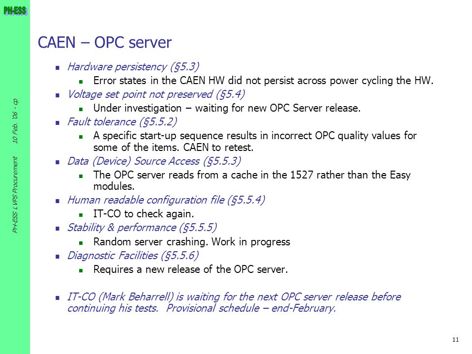CAEN – OPC server Hardware persistency (§5.3)