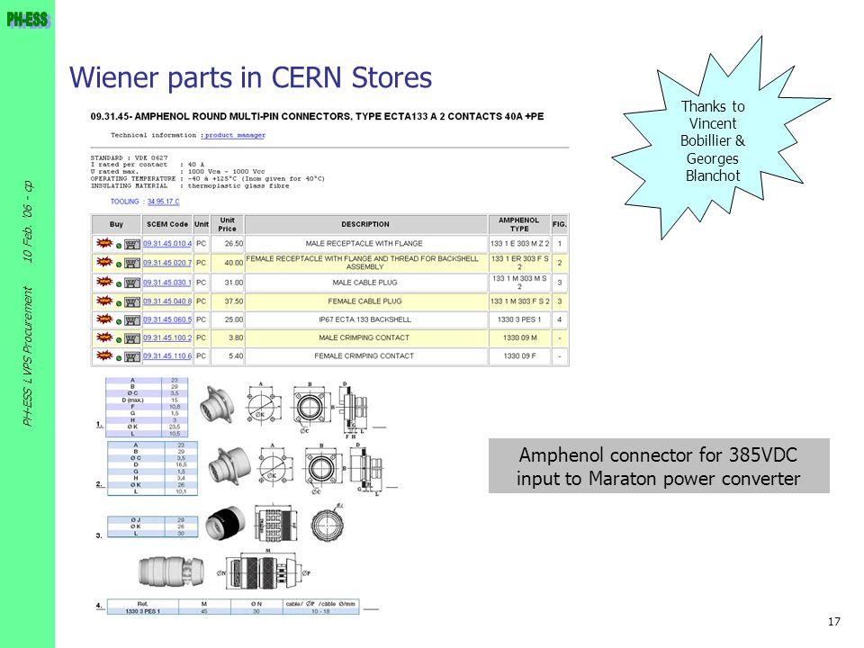 Wiener parts in CERN Stores