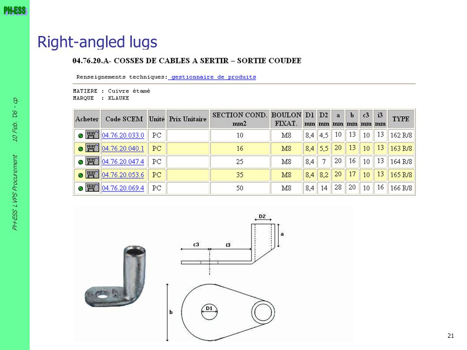 Right-angled lugs 10 Feb. 06 - cp PH-ESS LVPS Procurement