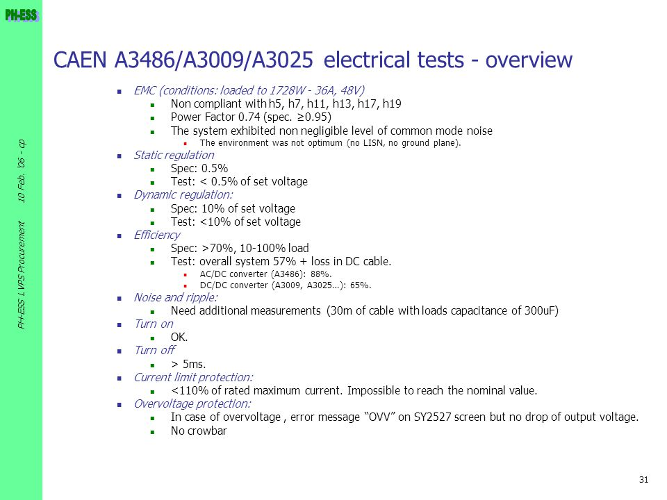 CAEN A3486/A3009/A3025 electrical tests - overview